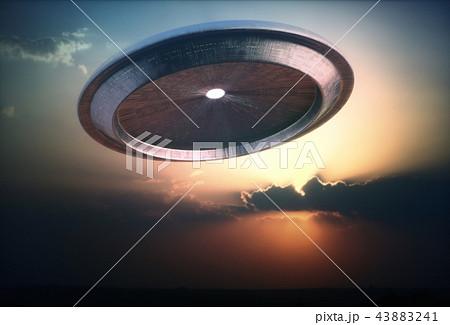 Alien Ship UFO Sunset Sky 43883241