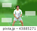 Tennis player man with blank infographic chart panels 43885271