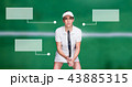 Tennis player woman with blank infographic chart panels 43885315