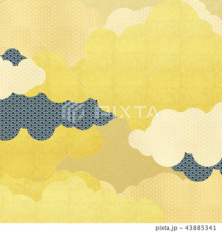 和-背景-金箔-雲-霞-波 43885341