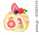 ケーキ ロールケーキ スイーツのイラスト 43885470
