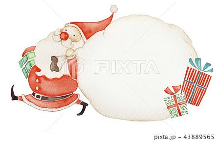 サンタクロース クリスマス メッセージカード 水彩 イラスト 43889565