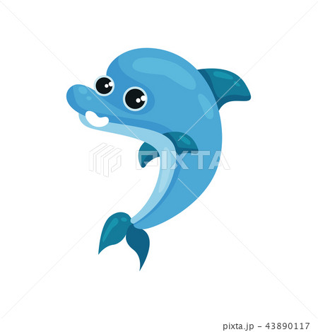 Flat vector icon of smiling blue dolphin. Marine animal with shiny eyes. Sea life theme. Element for 43890117