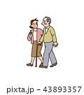 おじいちゃんと歩く娘 43893357