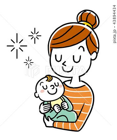 イラスト素材:赤ちゃんを抱っこする母親 43894434