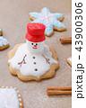 handmade gingerbread like melting snowman on the baking paper 43900306