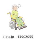 車椅子 考える 悩むのイラスト 43902055
