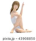 エクササイズするスリムな若い女性 43908850