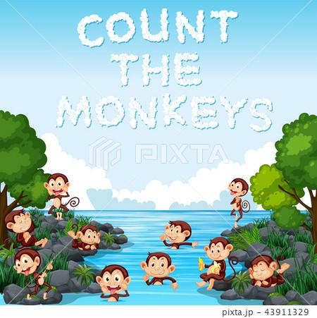 count the monkey templateのイラスト素材 43911329 pixta