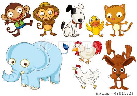 A set of flat animals 43911523