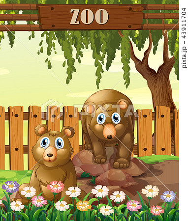 bears in the zoo templateのイラスト素材 43911704 pixta