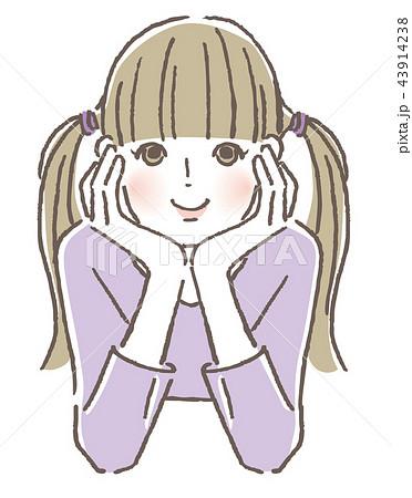 頬杖 女の子のイラスト素材 43914238 Pixta