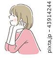 頬杖 女の子 43914244