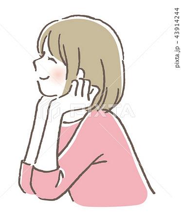 頬杖 女の子のイラスト素材 43914244 Pixta