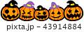 ハロウィン かぼちゃ5個 おばけ 43914884