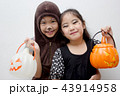 Portrait Asian girl with funny monster face  43914958