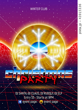 christmas party invitation poster or flyer with 80s neon style and