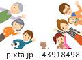 3世代家族 手を振っている 02 43918498