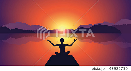 meditation silhouette peaceful sunset at lake and mountains background 43922759