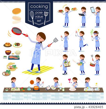 flat type Store staff Blue uniform women_cooking 43926405
