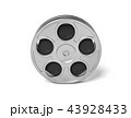 3d rendering of a single movie reel with steel casing in a front view on a white background. 43928433