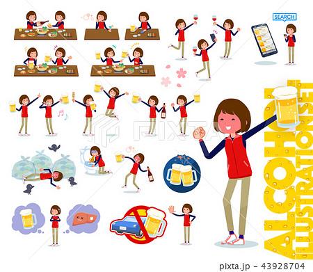 flat type Store staff red uniform women_alcohol 43928704