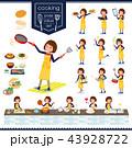 女性 店員 料理のイラスト 43928722