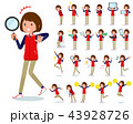 flat type Store staff red uniform women_Action 43928726