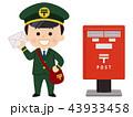 郵便ポスト 手紙 郵便局員のイラスト 43933458