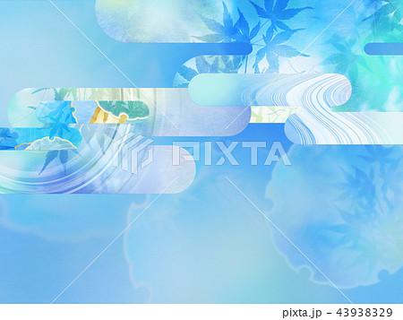 和の背景-和紙-夏-紅葉-ブルー 43938329