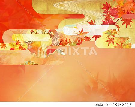 和-背景-秋-紅葉-金 43938412