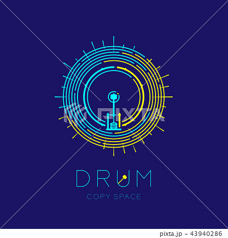 Bass drum, drumstick with line staff circle shape 43940286