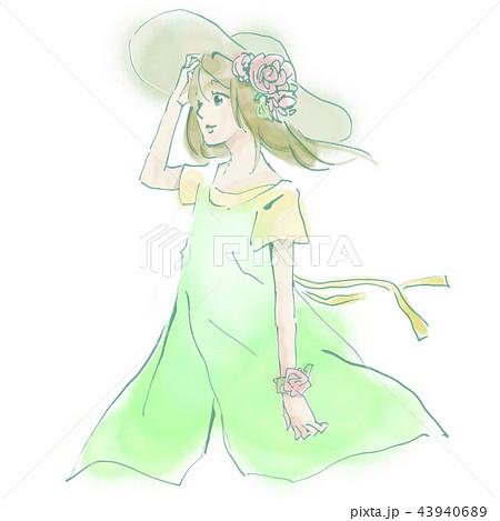 麦わら帽子 女の子 ワンピース スカート 草原 さわやか かわいい 風 髪