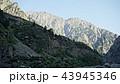 Mountain peak range landscape. Green mountain range view. Mountain peak blue sky white clouds 43945346