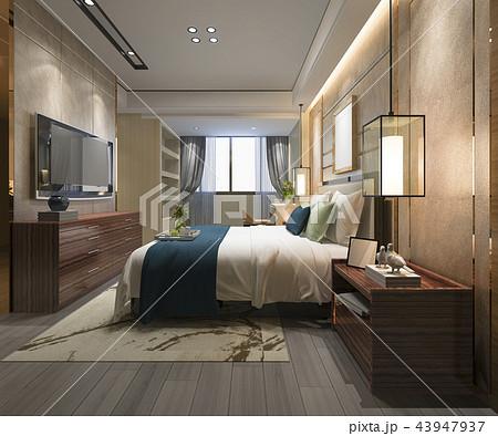 beautiful luxury bedroom suite in hotel with tv 43947937