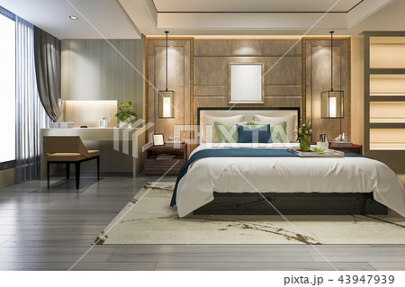 beautiful luxury bedroom suite in hotel with tv 43947939