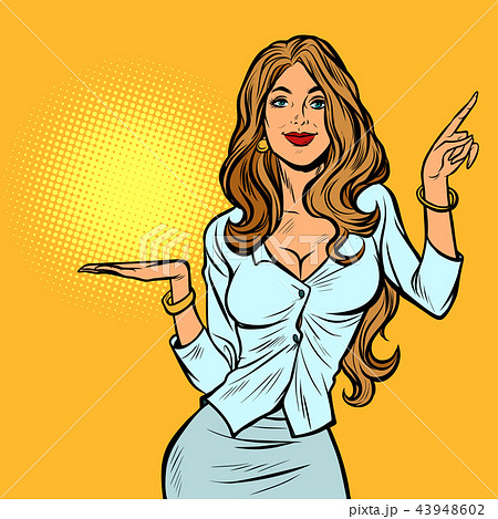 beautiful woman presents gesture 43948602
