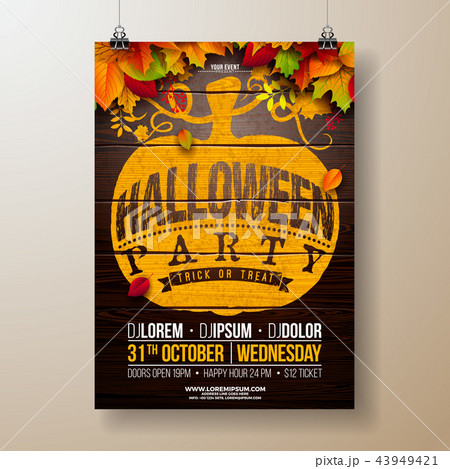halloween party flyer illustration with autumn leaves and typography