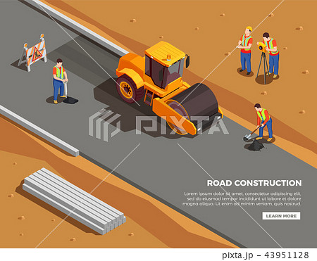 Road Construction Isometric Composition 43951128