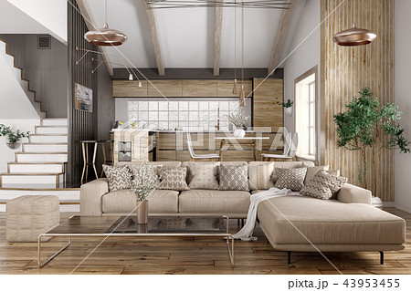 Interior of modern living room and kitchen 3d 43953455
