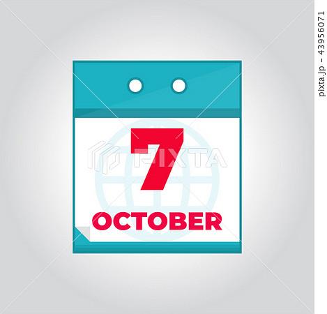 7 october vector daily calendar iconのイラスト素材 43956071 pixta