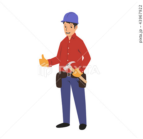 Handyman with a tool belt and a hammer. House renovation service. Flat vector illustration. Isolated 43967922