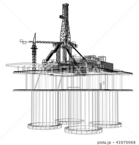 Offshore oil rig drilling platform concept 43970068