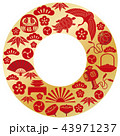 年賀状素材 フレーム 円のイラスト 43971237