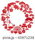 年賀状素材 フレーム 円のイラスト 43971238