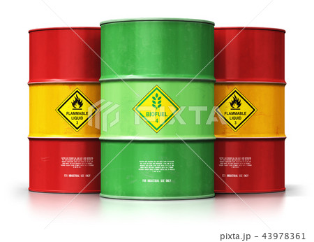 Green biofuel drum in front of red oil or gas drum 43978361