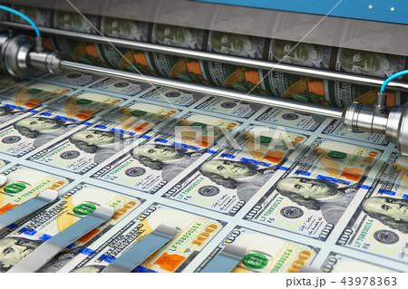 Printing 100 US dollar USD money banknotes 43978363