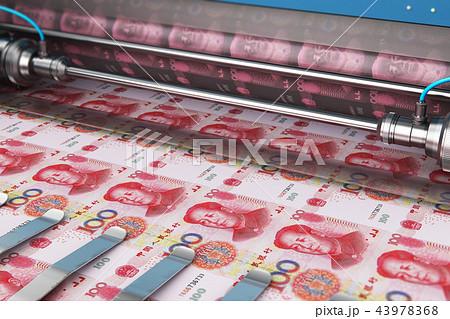Printing 100 Chinese yuan money banknotes 43978368