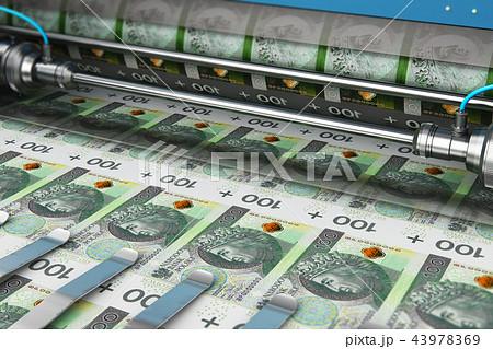 Printing 100 PLN Polish zloty money banknotes 43978369