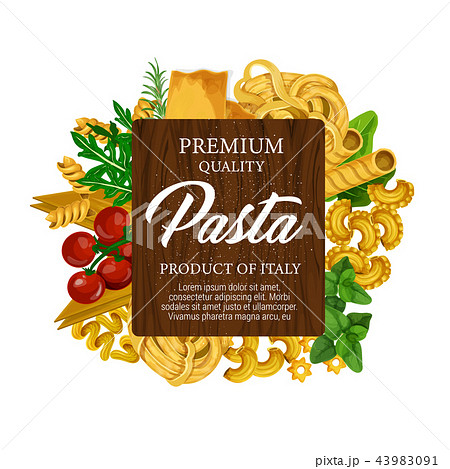 Italian pasta, tomato and green herbs label 43983091